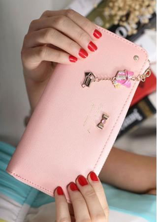 Bowknot Chain Rhinestone Letter PU Leather Wallet