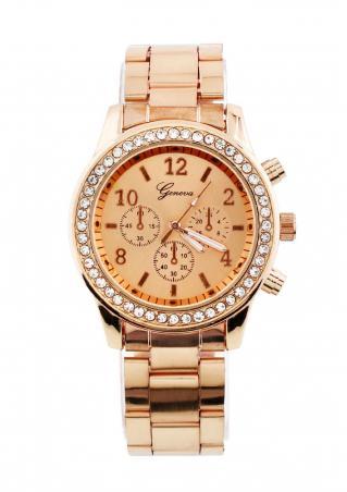 Rhinestone Stainless Steel Analog Wrist Watch