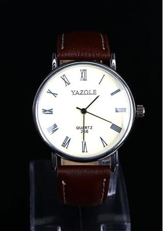 Round Faux Leather Wrist Watch