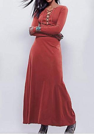 Solid Cross V-Neck Casual Maxi Dress