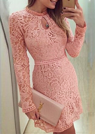 Solid Lace Hollow Out Mini Dress