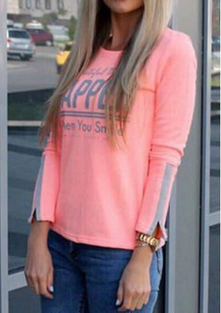 Letter Printed Long Sleeve Casual T-Shirt