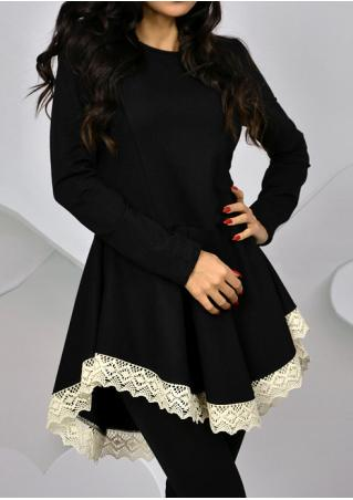 Solid Lace Splicing Pleated Swing Dress