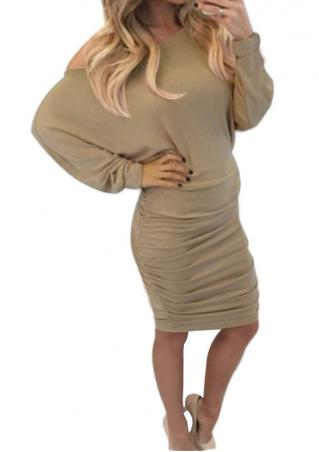 Solid Off Shoulder Pleated Bodycon Mini Dress