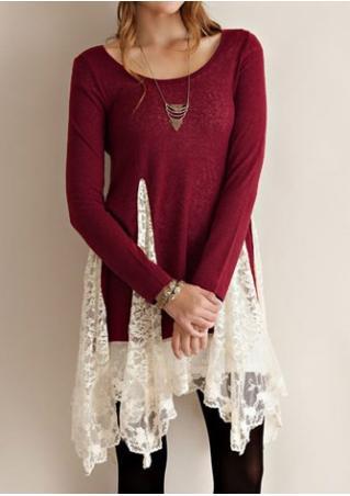 Lace Splicing Irregular Casual Dress