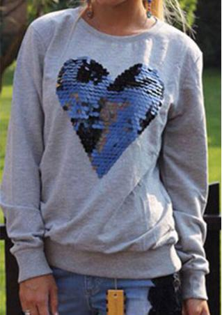 Heart Sequin Casual Long Sleeve Sweatshirt