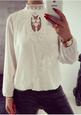 Solid Lace Hollow Out Splicing Blouse