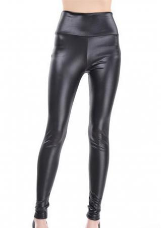 Solid Faux Leather Slim Fit Pencil Pants