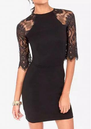 Solid Lace Splicing Zipper Bodycon Dress