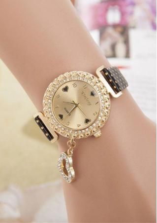 PU Leather Stainless Steel Rhinestone Heart Watch