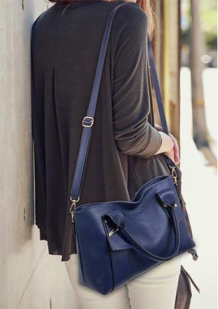 PU Leather Zipper Tote Shoulder Bag