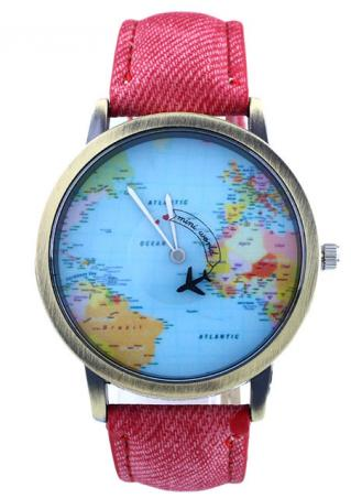 World Map Plane Faux Leather Metal Watch