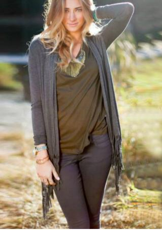 Solid Tassel Long Sleeve Casual Cardigan