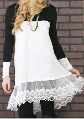 Lace Splicing Irregular Casual Mini Dress