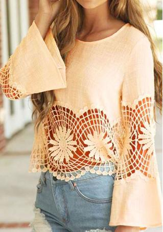 Solid Lace Hollow Out Flare Sleeve Blouse
