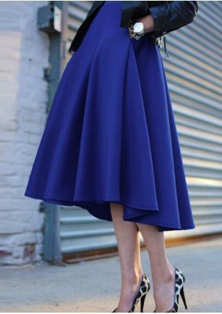 Blue Pleated A-Line Fashion Skirt