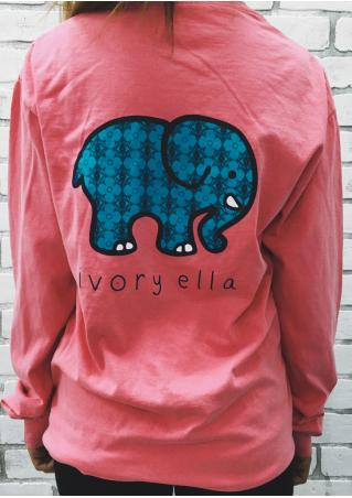 Printed Elephant Pattern Pocket Sweatshirt