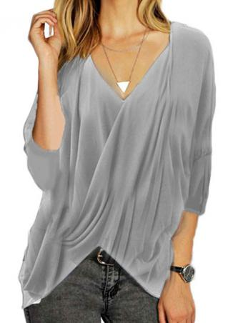 Grey Ruffled Loose Irregular Fashion Blouse