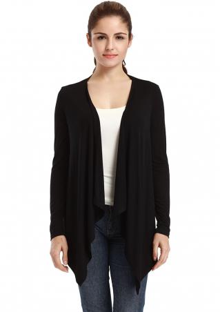 Vessos Solid Ruffled Irregular Cardigan