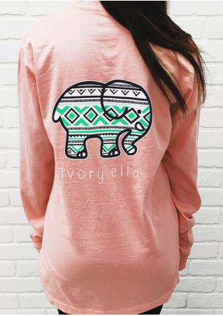 Printed Geometric Elephant Pocket Sweatshirt