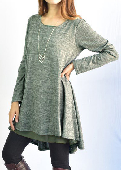 Solid Loose Casual Long Sleeve Two-piece Dress