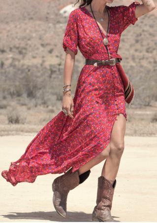 Floral Button Slit Maxi Dress Without Belt