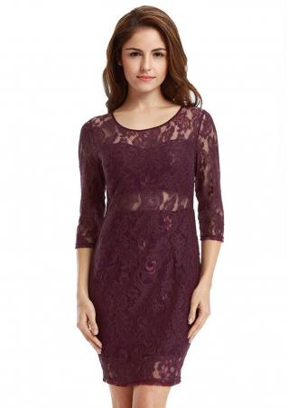 Solid Lace Hollow Out Bodycon Mini Dress