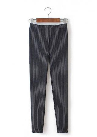 Striped Slim Stretchy Warm Casual Pants