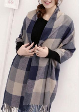 Tassel Plaid Knitted Fashion Pashmina Scarf