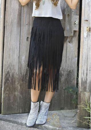 Solid Suede Tassel Zipper Bodycon Casual Skirt