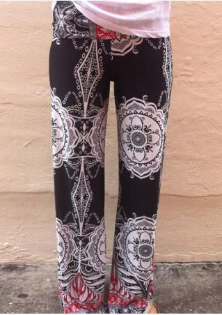 Floral Casual Wide Leg Pants