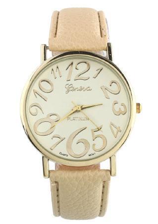 Vintage PU Metal Number Wrist Watch