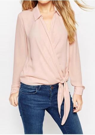 Solid Knot Chiffon Fashion Shirt