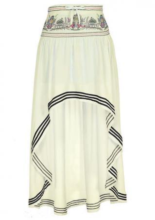 Printed Splicing Irregular Casual Long Skirt