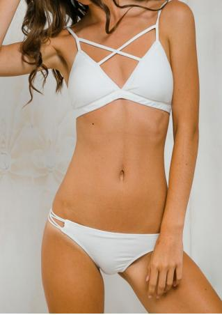 Solid Strappy Sexy Beach Bikini Set