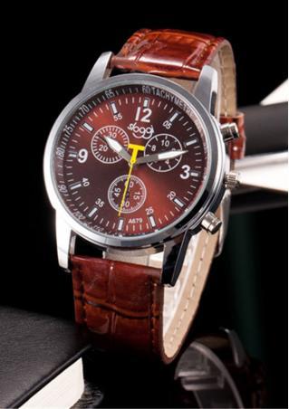 Three Dial Faux Leather Metal Quartz Wrist Watch