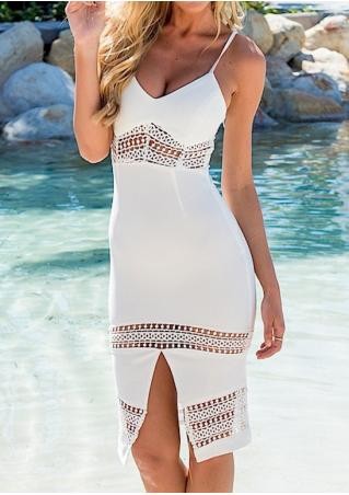 Solid Lace Hollow Out Slit Bodycon Strap Dress