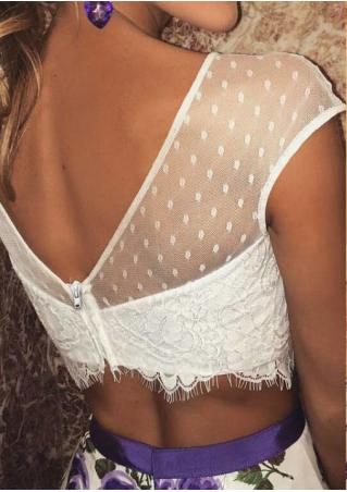 Solid Lace Mesh Splicing Sexy Crop Top