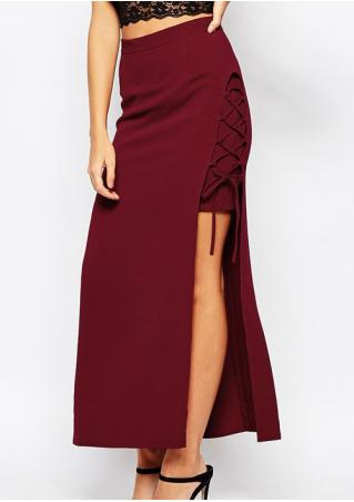 Solid Lace Up Slit Bodycon Long Skirt
