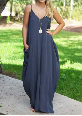 Solid Pocket Loose Maxi Strap Dress