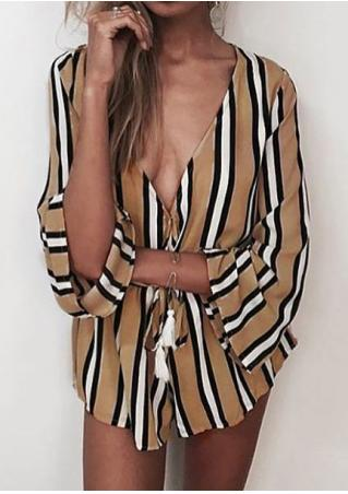 Striped Deep V-Neck Drawstring Sexy Romper