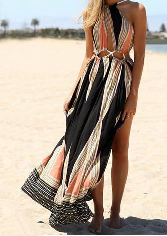 Printed Hollow Out Sexy Maxi Slit Dress