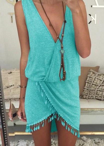 solid tassel deep v-neck mini dress without necklace
