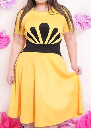 Printed Plus Size A-Line Casual Dress