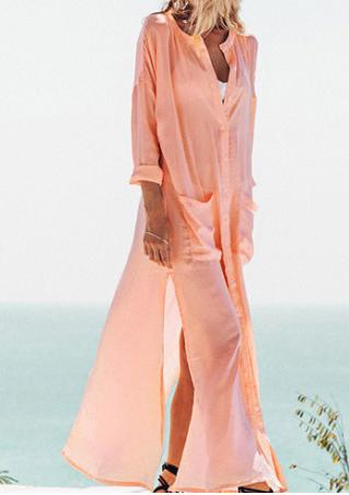 Solid Button Pocket Slit Casual Maxi Dress