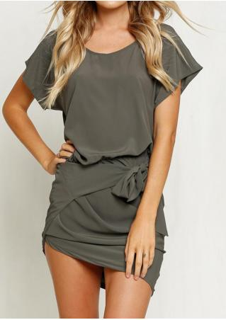 Solid Ruffled Knot Bodycon Mini Dress