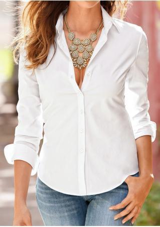 Solid Turn-Down Collar OL Casual Shirt
