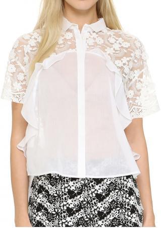 Solid Button Lace Chiffon Splicing Fashion Shirt