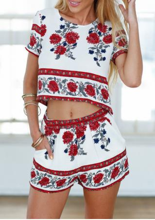 Floral Short Sleeve Crop Top Shorts Set