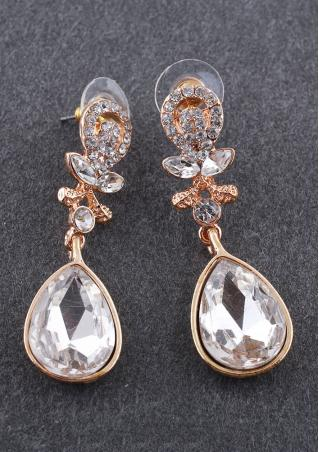 Water Drop Crystal Alloy Dangle Earrings